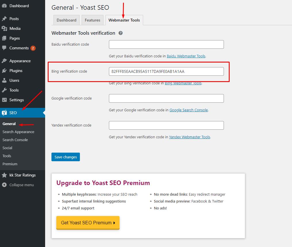 thêm website vào Bing Webmaster Tools