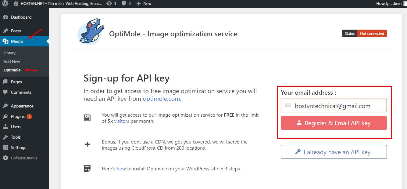 Sign-up for API key - tối ưu hình ảnh cho WordPress