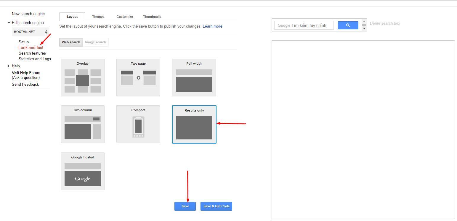 Look and feel - thêm Google Search vào WordPress