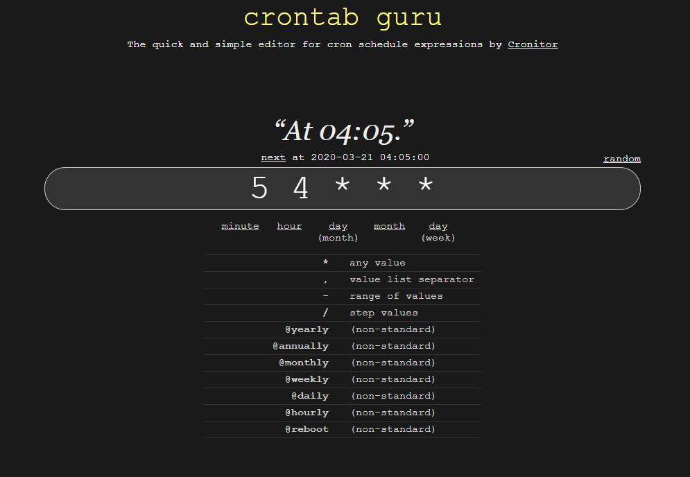 crontab.guru - tạo và kiểm tra Cron Jobs