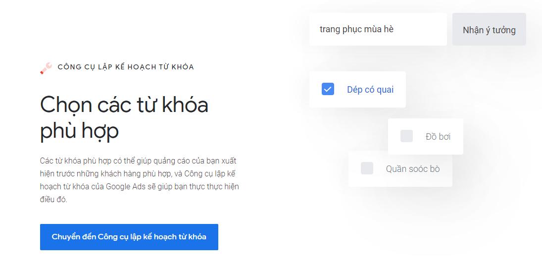 Google Keyword Planner - nghiên cứu từ khóa