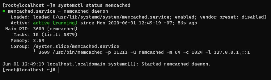 Screenshot_112 - cài đặt Memcached trên CentOS 8