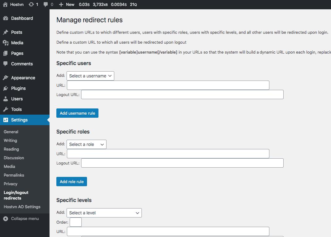 Manage redirect rules - chuyển hướng sau khi đăng nhập