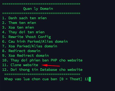 clone website - chức năng Clone website trên Hostvn Scripts