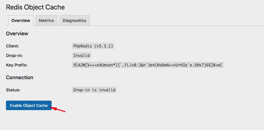 enable Redis Object Cache - Cấu hình Redis trên Hostvn Scripts