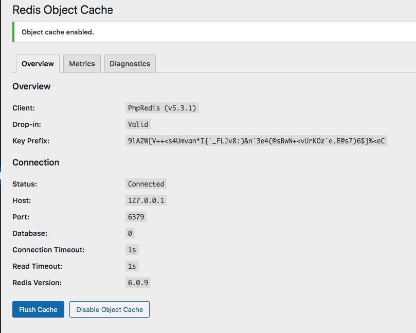 Object cache enabled - Cấu hình Redis trên Hostvn Scripts
