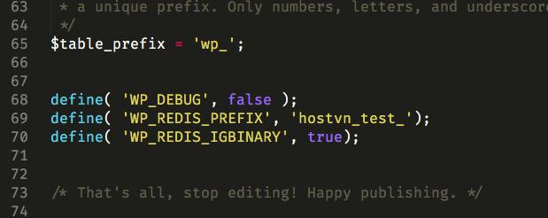 WP_REDIS_PREFIX - Cấu hình Redis trên Hostvn Scripts