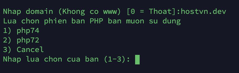 Lua chon phien ban PHP