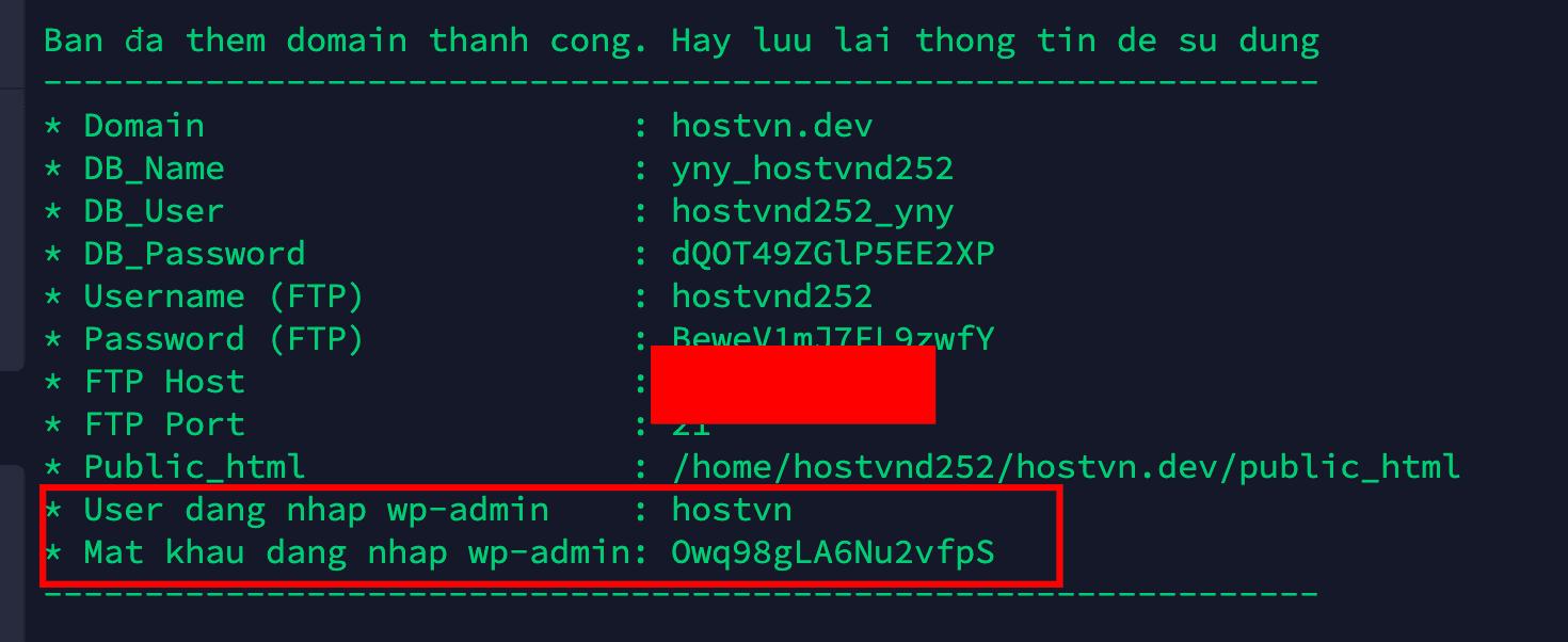 wp-admin info - cài đặt WordPress trên Hostvn Scripts