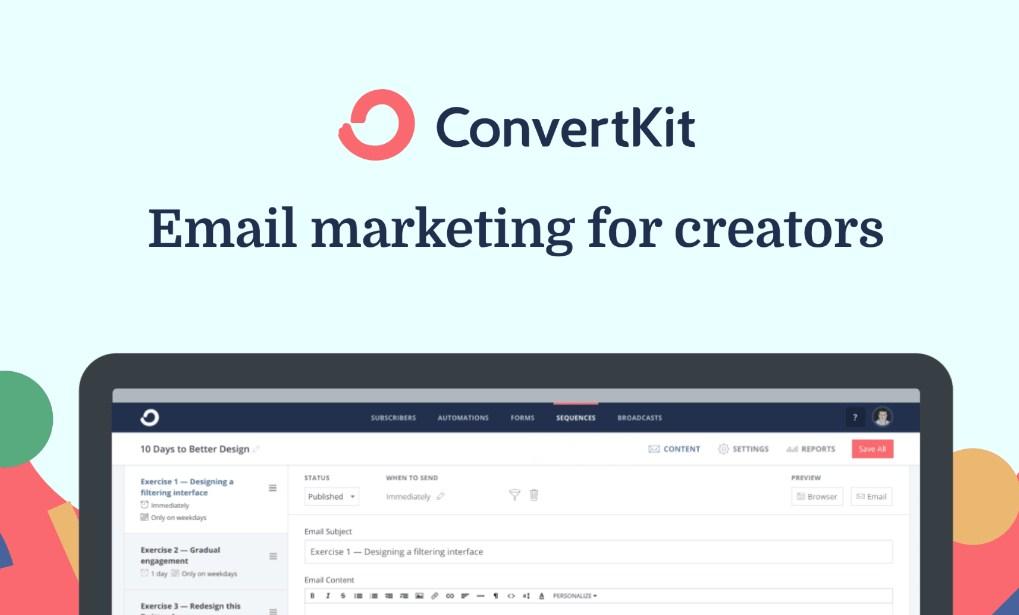 Phần mềm được ưu ái bởi những nhà phát triển nội dung chính là Convertkit