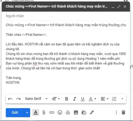 Soạn nội dung mẫu để gửi email marketing bằng Gmail