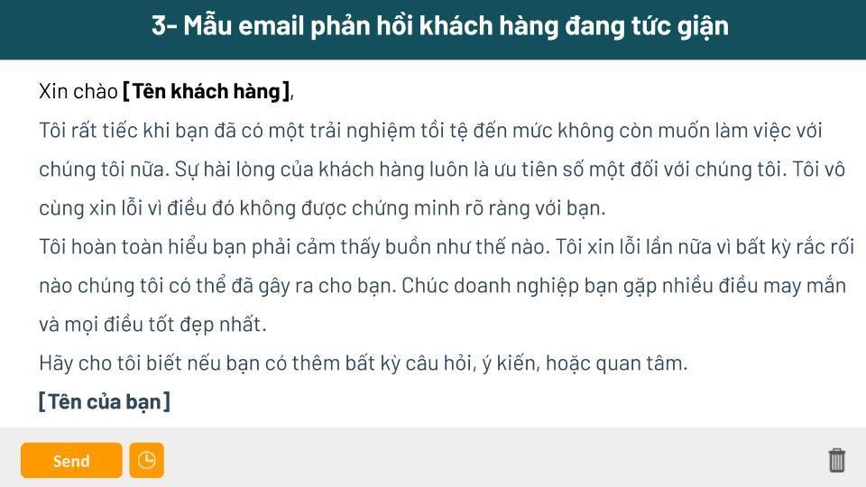 Mẫu email gửi cho khách hàng khi nhận phải hồi tiêu cực