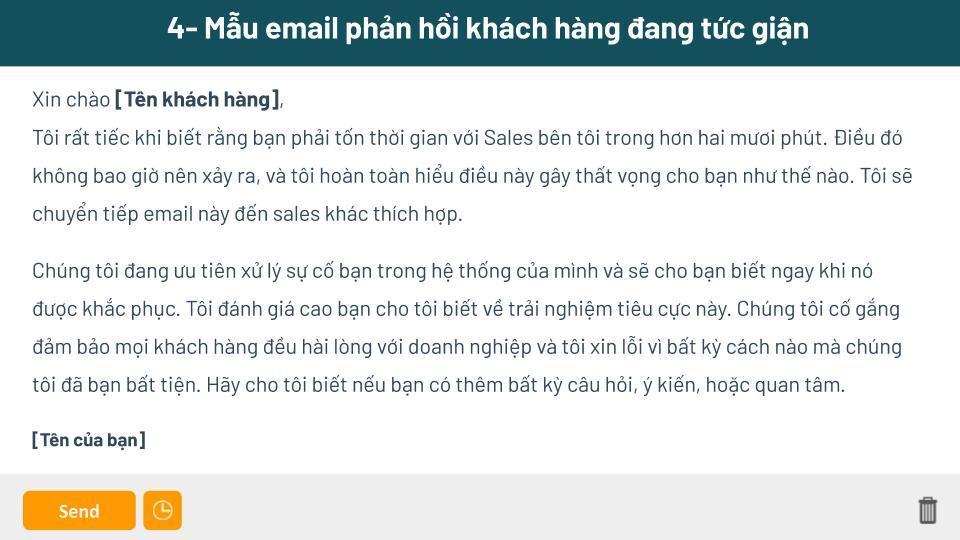 Mẫu gửi email cho khách hàng về khiếu nại