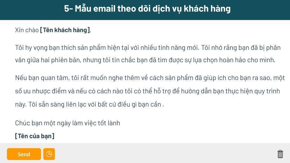 Mẫu gửi email cho khách hàng theo dõi dịch vụ