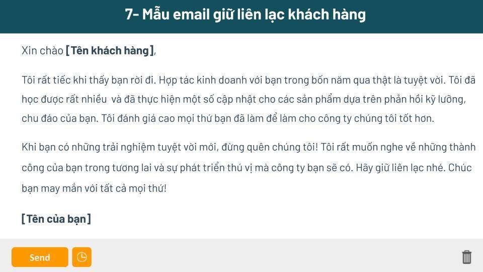 Mẫu email gửi giữ liên lạc với khách hàng