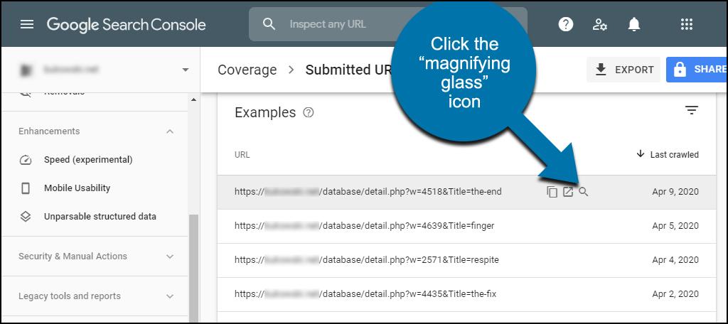 Nhấp vào biểu tượng kính lúp để kiểm tra URL