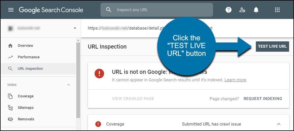 """Trên trang Kiểm tra URL, hãy nhấp vào nút """"test live url"""""""