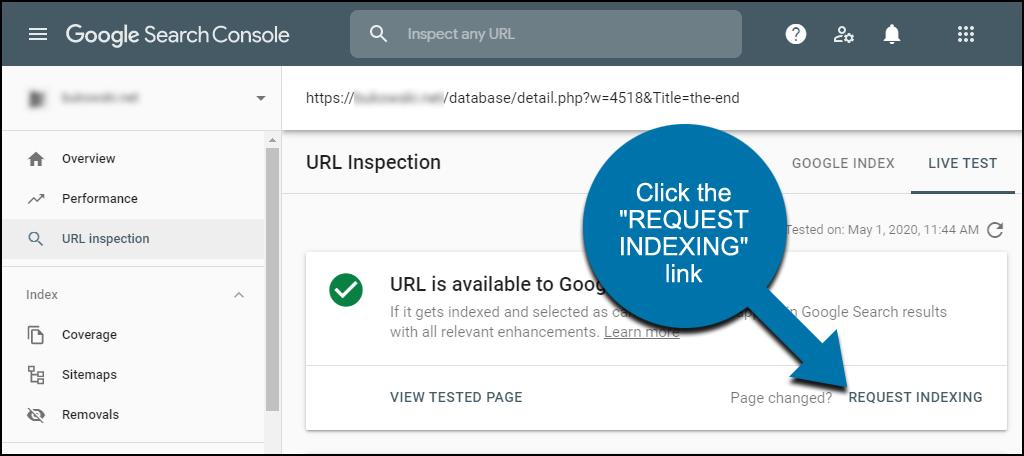 """Nhấp vào liên kết """"request indexing""""."""