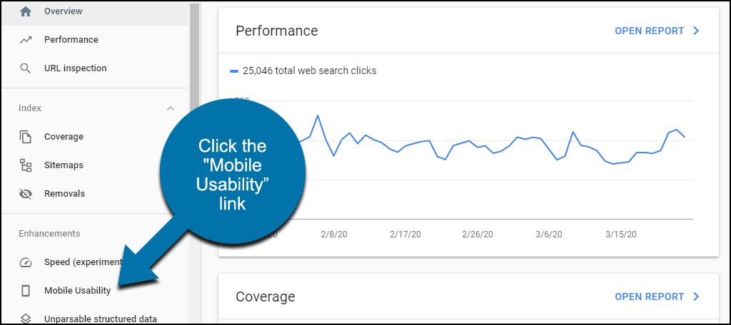 """Trong điều bên trái, nhấp vào liên kết """" Mobile Usability"""""""