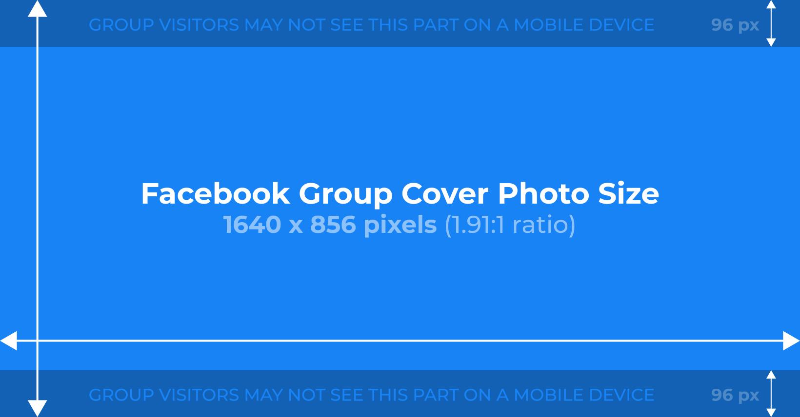 Kích thước lý tưởng cho ảnh bìa nhóm Facebook là rộng 1640 pixel x cao 856 pixel
