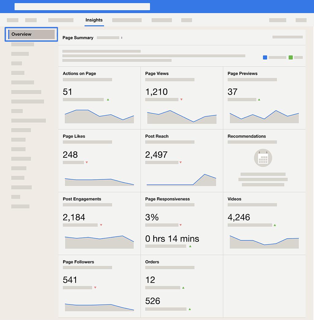 Tab Tổng quan hiển thị Tóm tắt Trang của bạn