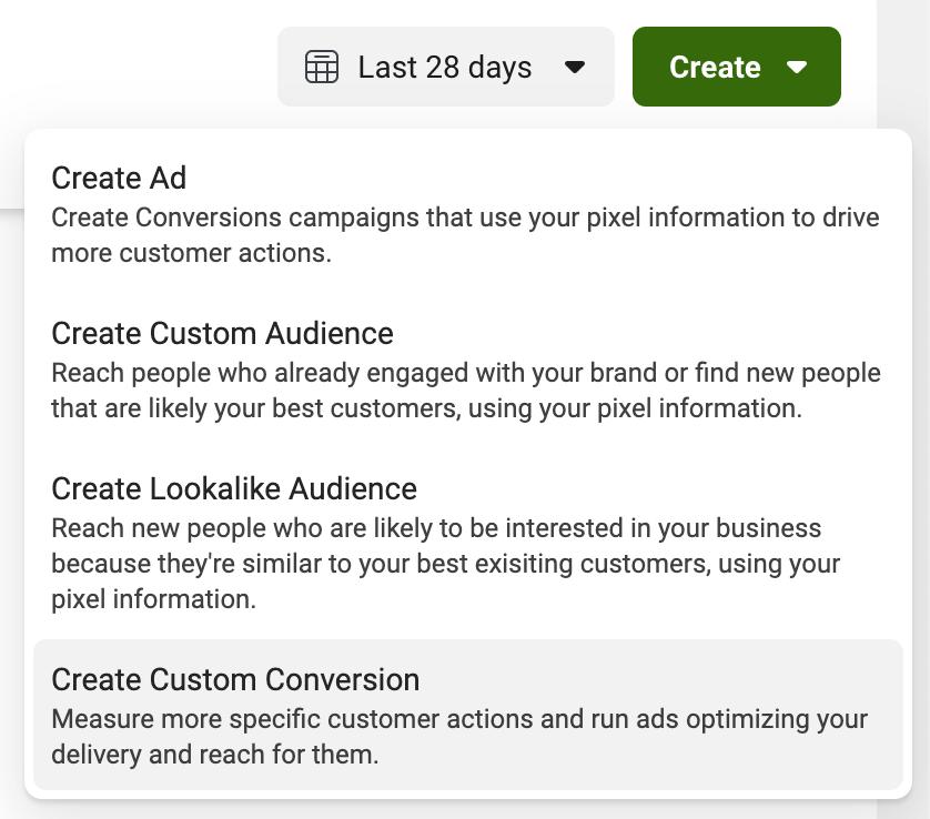 Chọn Create Custom Conversion