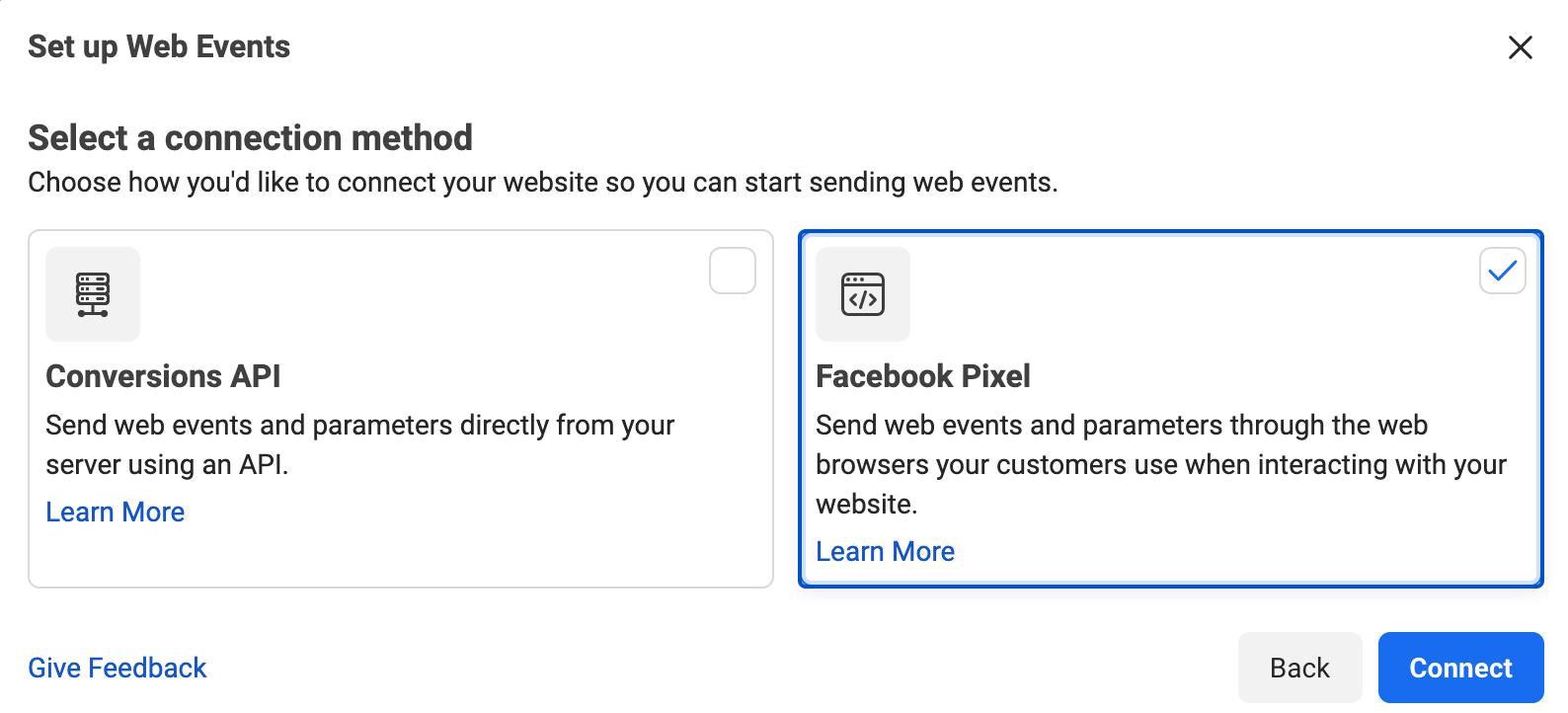 Chọn Facebook Pixel và click Connect