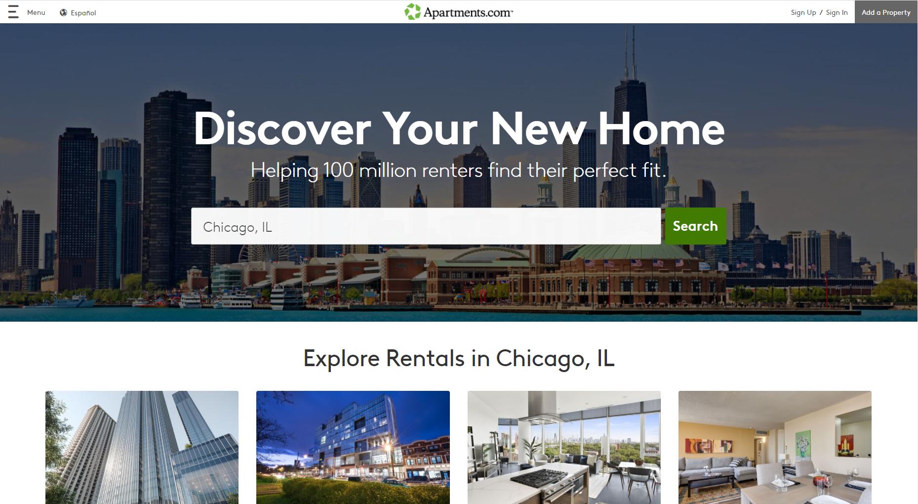 Apartments.com là thị trường cho thuê nhà, căn hộ online