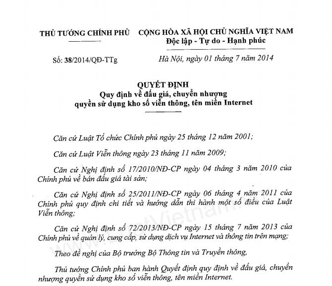 Quyết định số 38/2014/QĐ-TTg