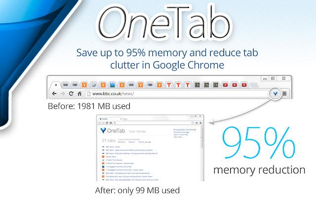 OneTab giúp bạn tiết kiệm tới 95% bộ nhớ