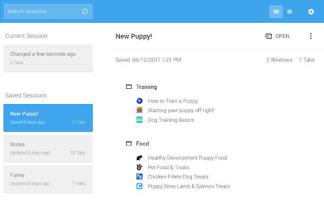 Session Buddy - Chuyên quản lý các tab và dấu trang