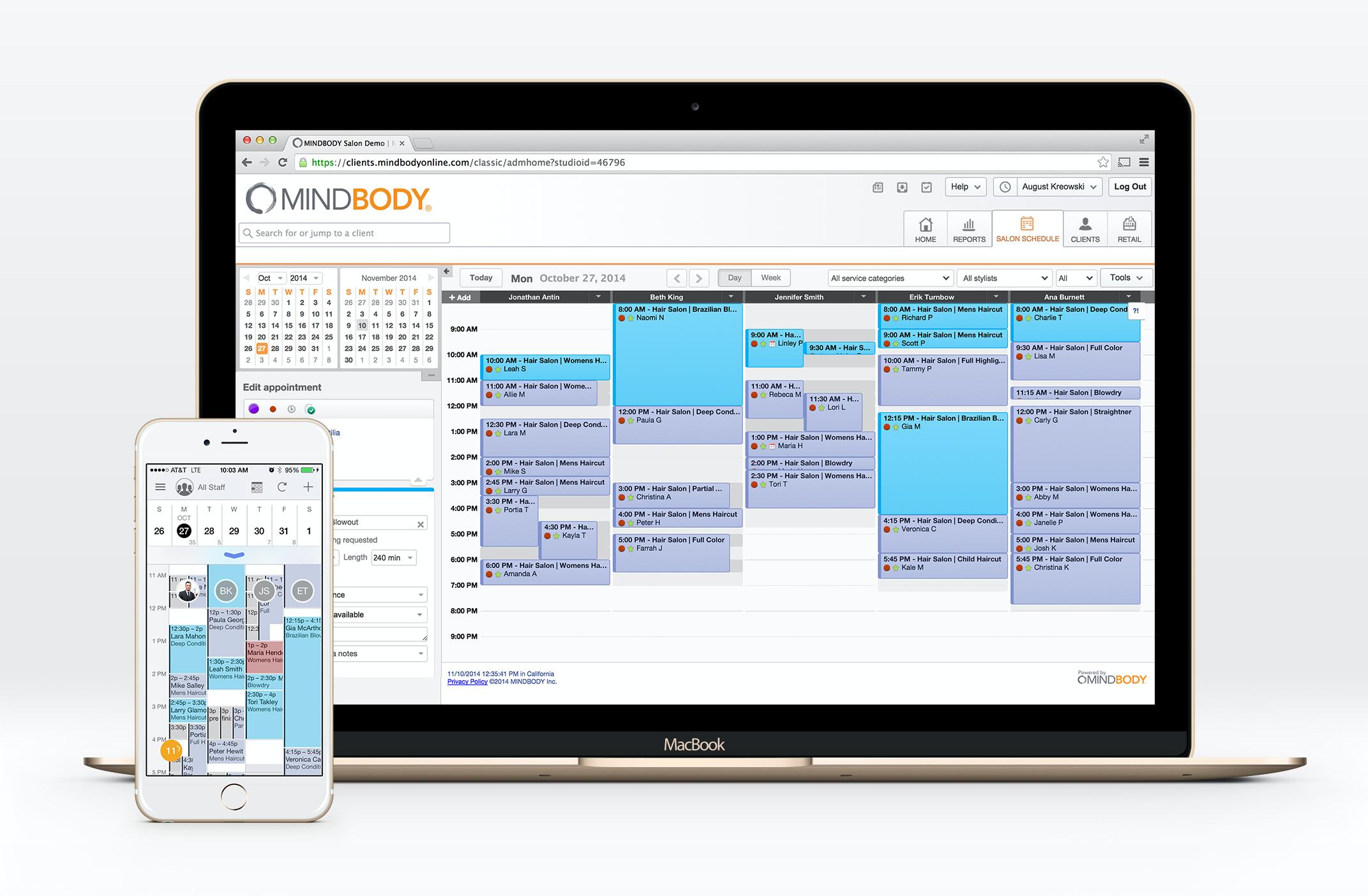 Giao diện phần mềm đặt lịch hẹn Mindbody khá đơn giả, dễ sử dụng