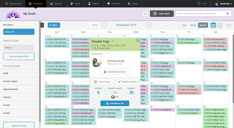 Wellness Living là một phần mềm dựa trên đám mây có tính năng đặt lịch hẹn và lên lịch lớp theo thời gian thực
